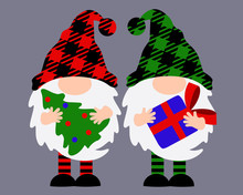 Merry Christmas Gnomes With Hat Vector Stock Design. Buffalo Plaid Clip Art. Gnome With A Gift And A Gnome With A Christmas Tree. Room, Home Decor.