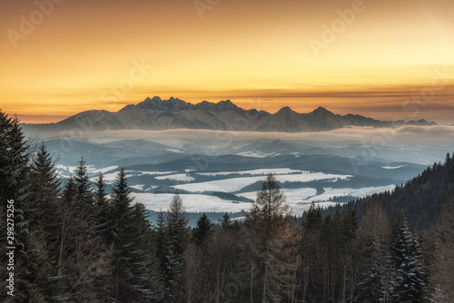 Recess Fitting Gray traffic Beautiful winter landscape with a view of the Tatra Mountains