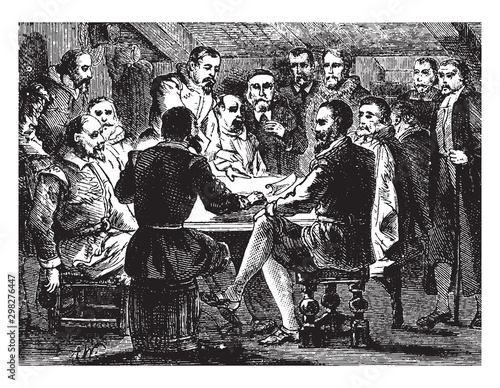Photo Signing of the Mayflower Contract,vintage illustration.