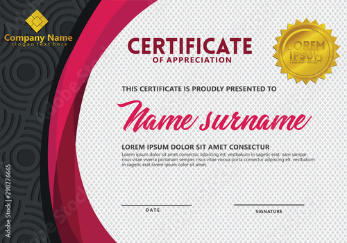 Cuadros en Lienzo  certificate template with texture pattern background for sport events