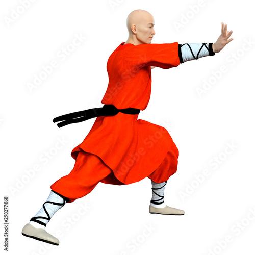 Aluminium Prints Fairytale World 3D Rendering Shaolin Monk on White