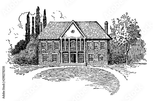 Fotografía  House of Burgesses vintage illustration