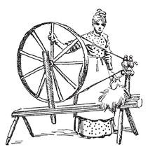 Spinning Wheel, Vintage Illustration