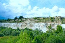 Cretaceous Quarry. Landscape With Sandy Cliffs And Beautiful Sky