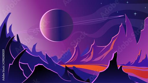Valokuvatapetti Cosmic landscape. The rocky surface of a dark planet