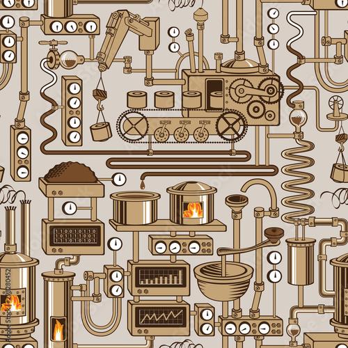 Tapety Industrialne  wektor-wzor-na-temat-przemyslowy-z-roznych-urzadzen-produkcyjnych-urzadzen-urzadzen-czujnikow-mechanizmow-i-rur-w-stylu-retro-nadaje-sie-do-tapet-papieru-do-pakowania-tkaniny