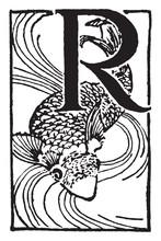 R, Capital Letter, Vintage Illustration