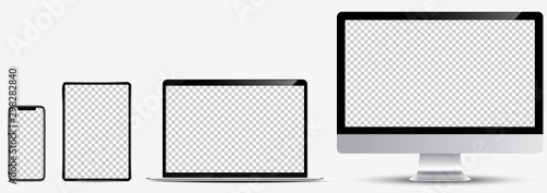 Obraz Device screen mockup. Smartphone, tablet, laptop and monoblock monitor, with blank screen for you design. Vector EPS10 - fototapety do salonu
