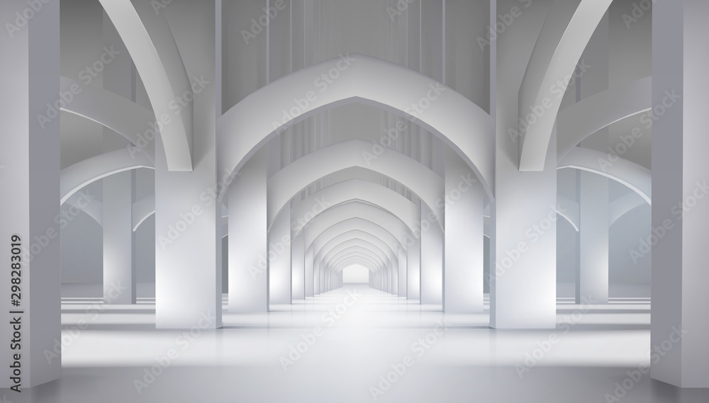 Fototapety, obrazy: Arcades in the old castle. Long hall in historic interior. Vector illustration.