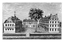 Harvard College In 1720 Vintage Illustration