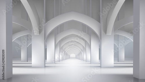 Arcades in the old castle. Long hall in historic interior. Vector illustration.