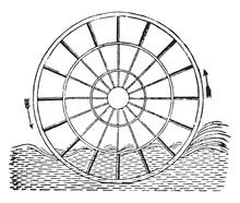 Ordinary Paddle Wheel, Vintage Illustration.