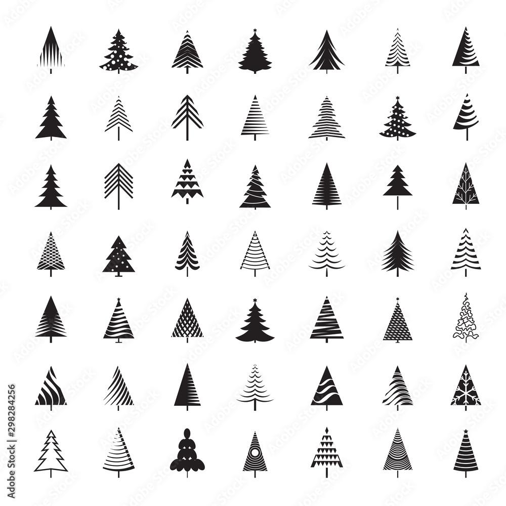 Fototapety, obrazy: Set of black Christmas Trees. Winter season design elements. Isolated vector xmas Icons.