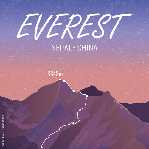 Everest or Chomolungma, 8848m in Himalayas, Nepal, China outdoor adventure poster Tableau sur Toile