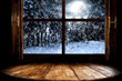 canvas print picture - Winter window sill and free space for your decoration.