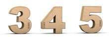 Cardboard Texture Numbers 3, 4, 5. 3D Render. Paperboard Alphabet. Font Box