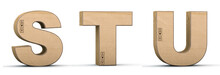 Cardboard Texture Letters S, T, U. 3D Render. Paperboard Alphabet. Font Box.