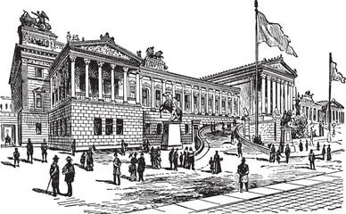 Parliament Building in Vienna in Austria, vintage illustration.