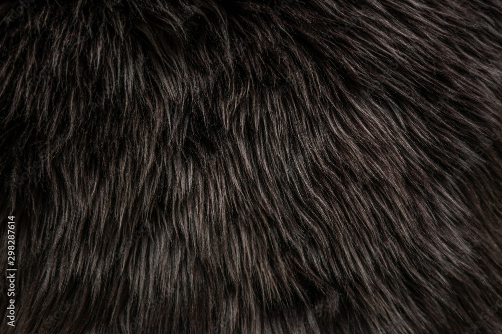 Fototapeta abstract background of warm artificial dark brown fur on a knitted base close up