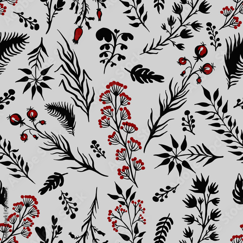 Fototapety, obrazy: Herbal elements silhouettes of grass vector illustration of a seamless pattern