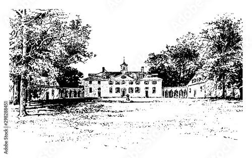 Valokuvatapetti Mount Vernon vintage illustration