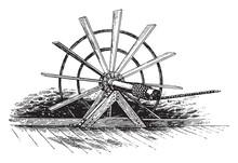 Paddle Wheels, Vintage Illustration.