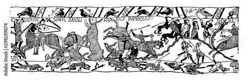 Fotografering Battle of Hastings vintage illustration.