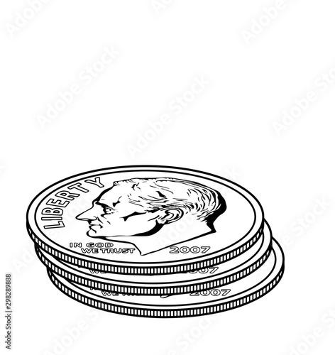 Slika na platnu Stacks of Dimes vintage illustration.