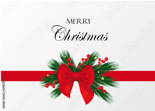Christmas card with decoration and bow Fototapeta