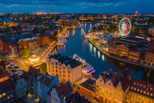 Aerial View On Old Town In Gdansk By The Evening.