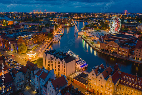 Fototapety, obrazy: Aerial view on old town in Gdansk by the evening.