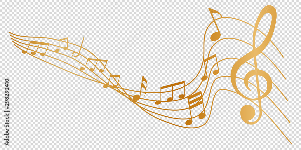 Fototapeta golden musical notes melody on transparent background