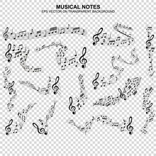Set Of Musical Notes Melody On Transparent Background