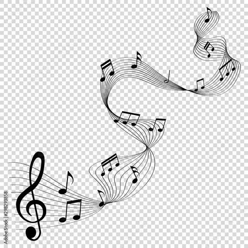 musical notes melody on transparent background - 298293858