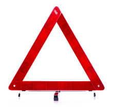 Warning Triangle Car On White ...