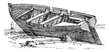 Row Boat, Vintage Illustration.