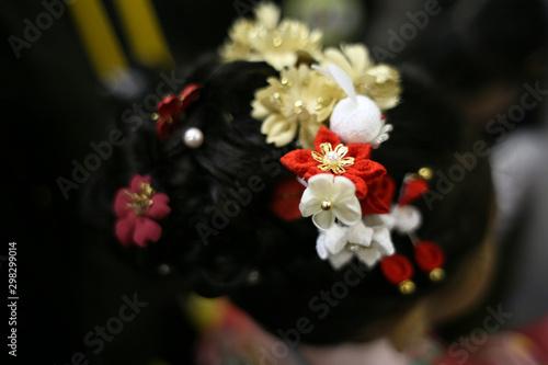 七五三 A girl wearing kimono visits a shrine at Shichigosan celebration for 7 and 5 Wallpaper Mural