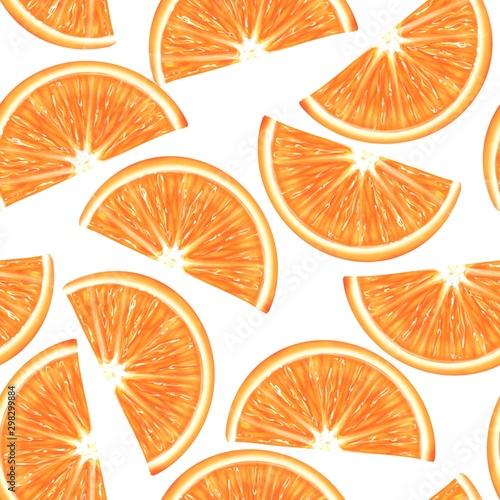 Sliced orange seamless pattern. Vibrant exotic fruits background