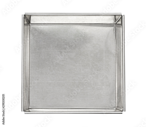 Metal box top view (with clipping path) isolated on white background Canvas Print