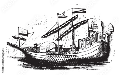 Photo Spanish caravel, vintage illustration.