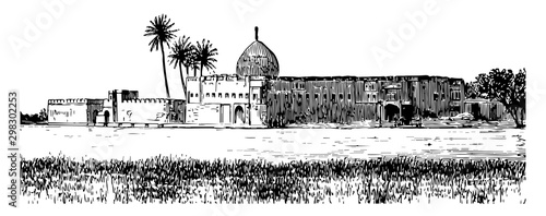 Photo Ezra Tomb vintage illustration.