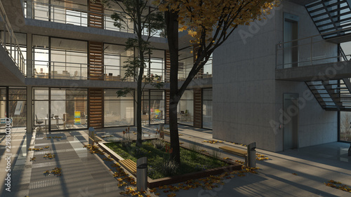Fotografia Sunlit Offices Inside a Multi Story Building with an Internal Garden 3D Renderin
