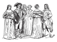 Nobility From The Time Of Charles I, Vintage Illustration.
