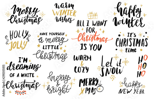Pinturas sobre lienzo  Set of Christmas hand lettering for cards or git tags