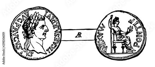 Denarius of Tiberius Caeser vintage illustration. Canvas Print