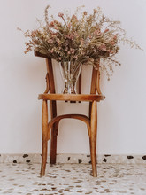 Bouquet Of Dried Flowers On Ol...