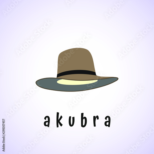 akubra hat creative simple flat vector illustration Canvas Print