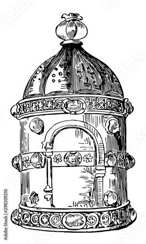 Photo Anglo-Saxon Candle Lantern Called a Lanthorn vintage illustration