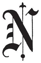 N, Old English Title Text, Vintage Illustration