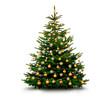 Leinwanddruck Bild - Glänzend Dekorierter Weihnachtsbaum mit Weihnachtskugeln